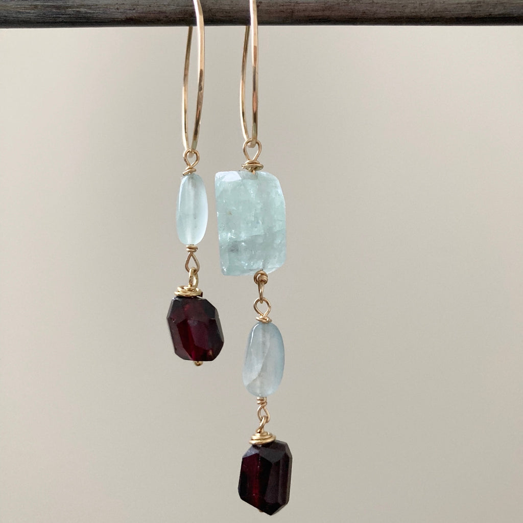 Goddess Double Aquamarine and Garnet Hoops