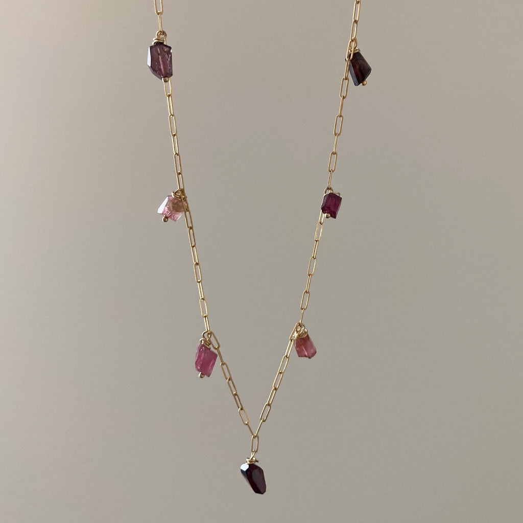 Goddess Tourmaline and Garnet Chain