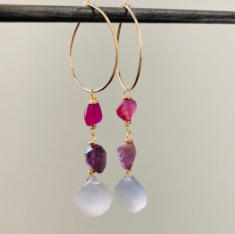 Goddess Tourmaline, Sapphire and Chalcedony Earrings