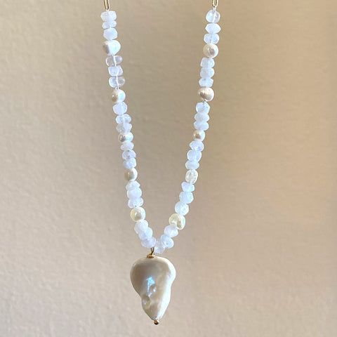 White Pearl and Moonstone Necklace w/ Gold Fill Chain