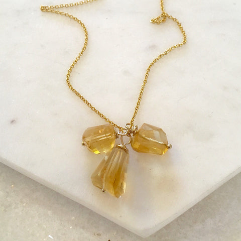 Rumi Triple Citrine Necklace