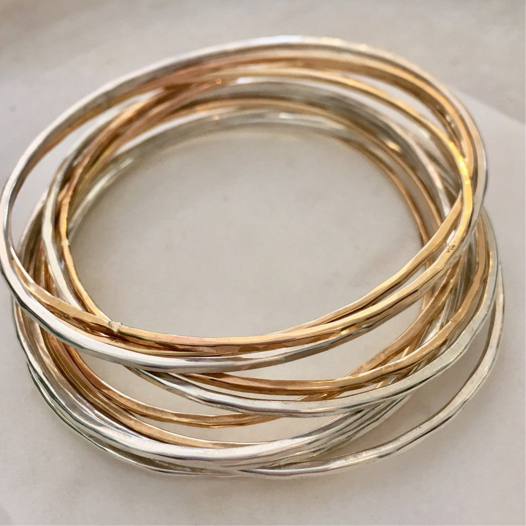 Adorn Bangles- Silver and Gold Fill ( Set of 12)
