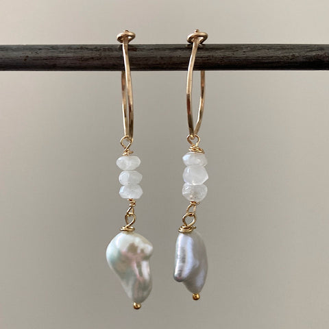 Keshi Pearl and Moonstone mini Goddess  Hoops