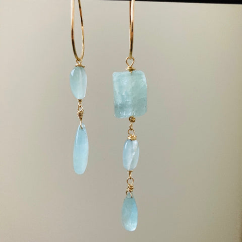 Goddess Aquamarine Asymmetrical Hoops