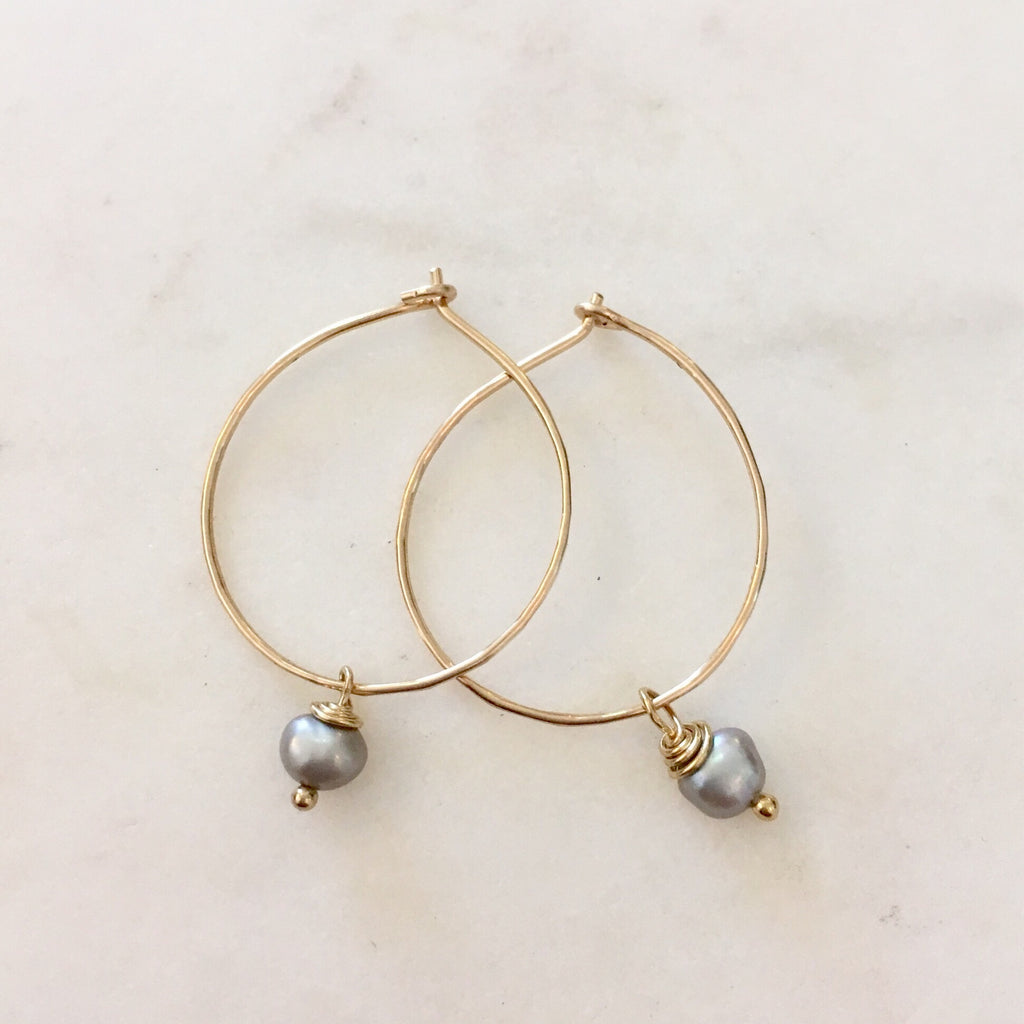 Grey Single Pearl Hoops. Yellow gold Fill.