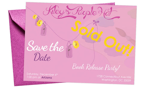 Invite to Kiley's Purple Hat Book Release party at ArtJamz®