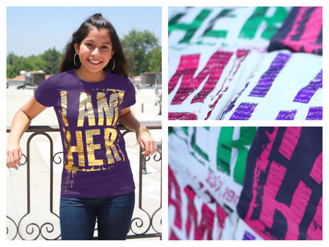 Poster I AM HER Apparel Exclusive T-Shirt for Kiley's Purple Hat Kickstarter Campaign