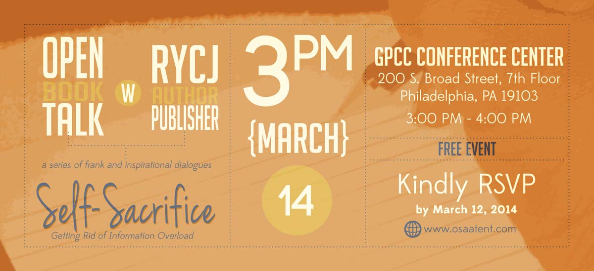 Banner for Open Book Talk with RYCJ: Self-Sacrifice Getting Rid of Information Overload