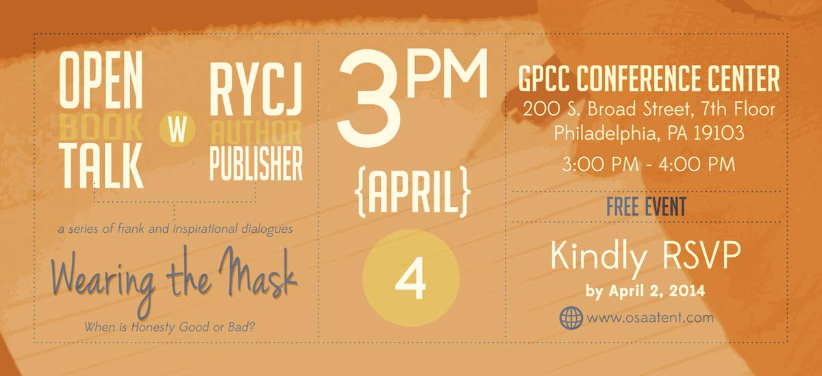 Banner for Open Book Talk with RYCJ: Wearing the Mask... When is Honesty Good or Bad?