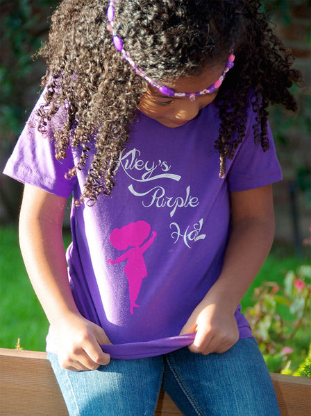 Little Girl wearing a Kiley's Purple Hat T-Shirt - Front View