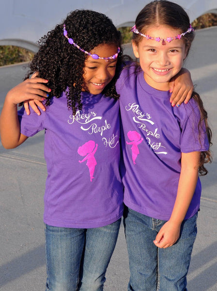 Two Little Girls wearing a Kiley's Purple Hat T-Shirt - Front View