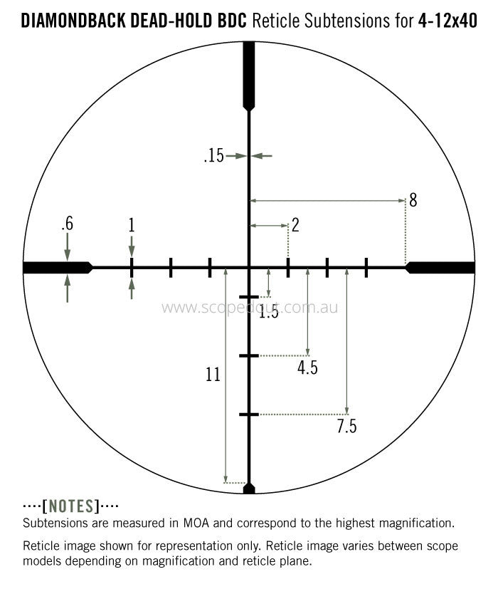 Vortex Diamondback 4-12x40 BDC reticle subtension