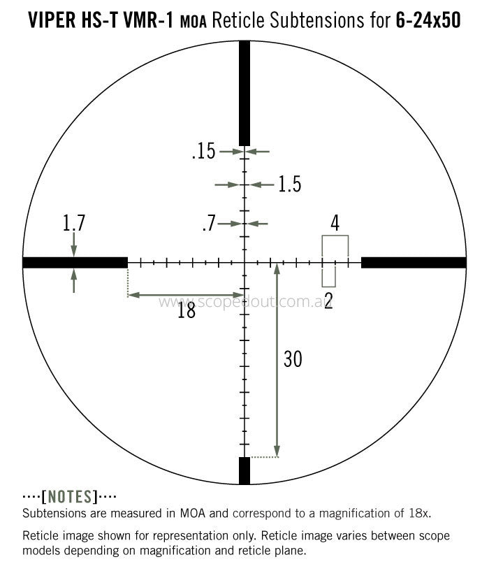 Vortex Viper HS-T 4-16x44 VMR-1 (MOA) reticle subtension