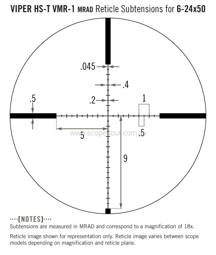 Vortex Viper HS-T 6-24x50 VMR-1 (MRAD) reticle subtension