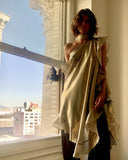 Ruffle Kaftan with Quilted Obi Belt Silk Lame' Champagne Gold/Taupe