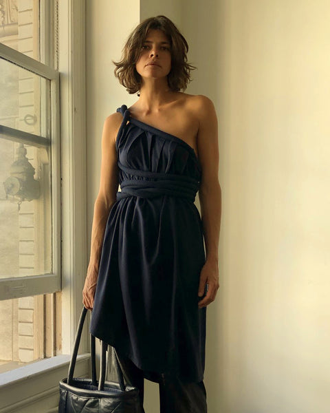 Infinite Rope Dress Indigo Raw Silk