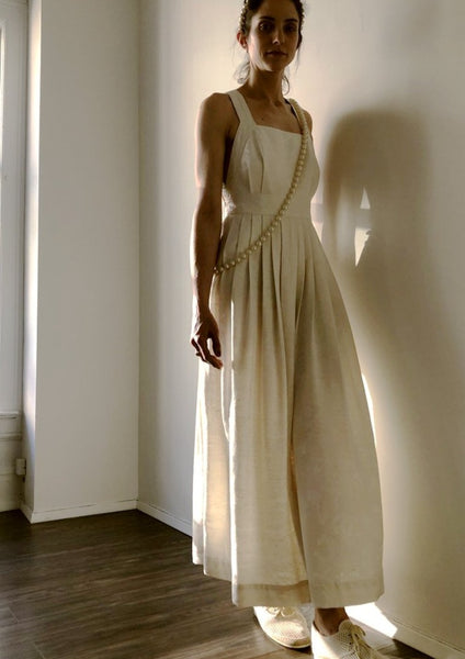 Traveling Pinafore Dress (Long Version) Raw Silk Ivory Cream (Pre-Order)