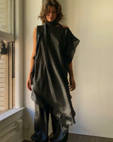 Ruffle Kaftan with Quilted Obi Belt (Black on Black Metallic Silk Lame')