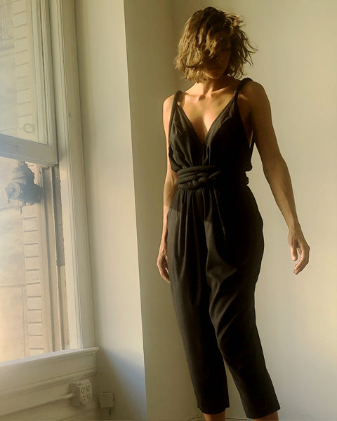 Infinite Rope Jumpsuit Black Raw Silk