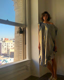 Ruffle Kaftan with Quilted Obi Belt (Silk Lame' Blue Champagne/Lapis Blue)
