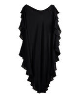 Ruffle Kaftan with Quilted Obi Belt (Cotton Gauze Black)