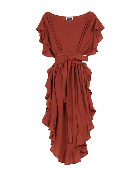 Ruffle Kaftan with Obi Belt (Cotton Gauze Terracotta)