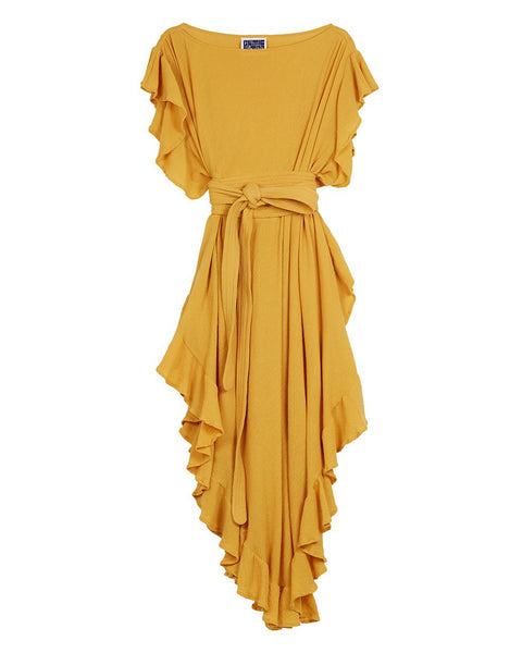 Ruffle Kaftan with Obi Belt (Cotton Gauze Marigold)