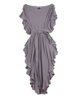 Ruffle Kaftan with Quilted Obi Belt (Cotton Gauze Earl Grey)