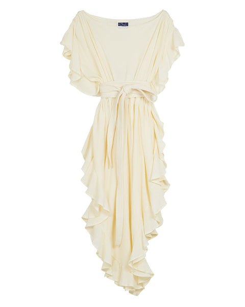 Ruffle Kaftan with Quilted Obi Belt (Cotton Gauze Vanilla)