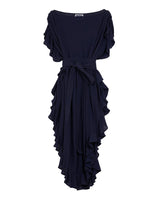 Ruffle Kaftan with Quilted Obi Belt (Cotton Gauze Navy Blue)