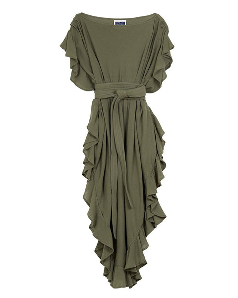 Ruffle Kaftan with Quilted Obi Belt (Cotton Gauze Sage)