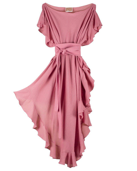 Ruffle Kaftan with Quilted Obi Belt (Cotton Gauze Mauve)