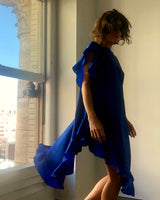 Ruffle Kaftan with Quilted Obi Belt (Parachute Silk Cobalt Blue)