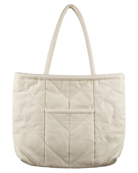 Chevron Tote Bag Ivory Cotton Canvas