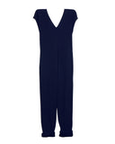 Origami Jumpsuit (Washed Cotton Gauze Navy Blue)