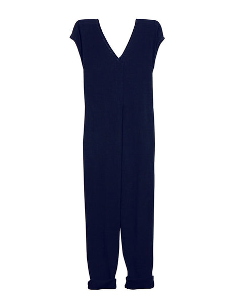 Origami Jumpsuit (Pre-Washed Cotton Gauze Navy Blue)