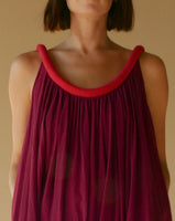 Sahara Chemise Dress in Pomegranate with Rouge Piping