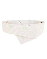 Reversible Asymmetrical Trapunto Belt Cotton Canvas Cream Hand Painted
