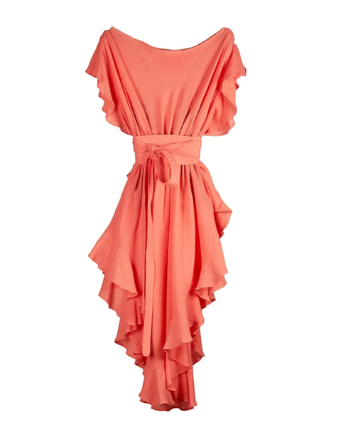 Ruffle Kaftan with Quilted Obi Belt (Bright Salmon)