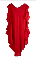 Convertible Ruffle Kaftan Shorter Version Cotton Gauze Rouge with Oval Obi