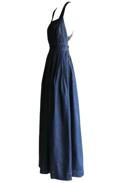 Traveling Pinafore Dress Long Version in Indigo Denim
