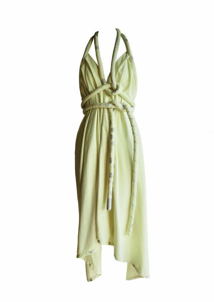 Infinite Rope Dress One of a Kind Hand Dyed Hand Painted Lemongrass Silver Raw Silk