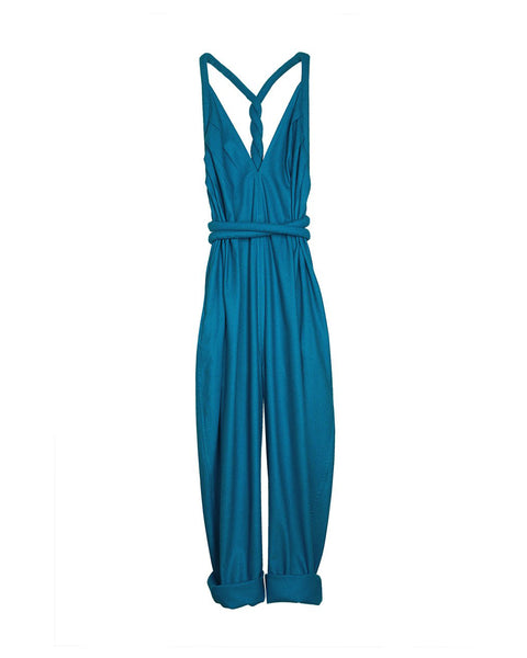 Infinite Rope Jumpsuit Teal Raw Silk