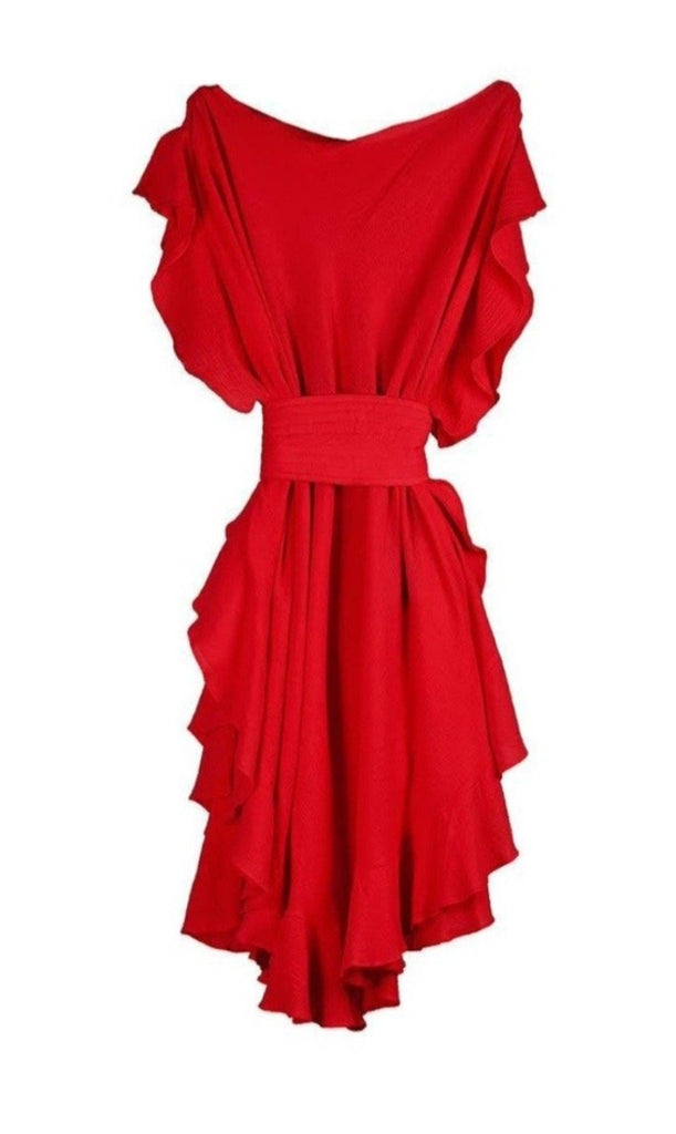 CONVERTIBLE RUFFLE KAFTAN SHORT W/ OBI BELT/COTTON GAUZE/ROUGE RED