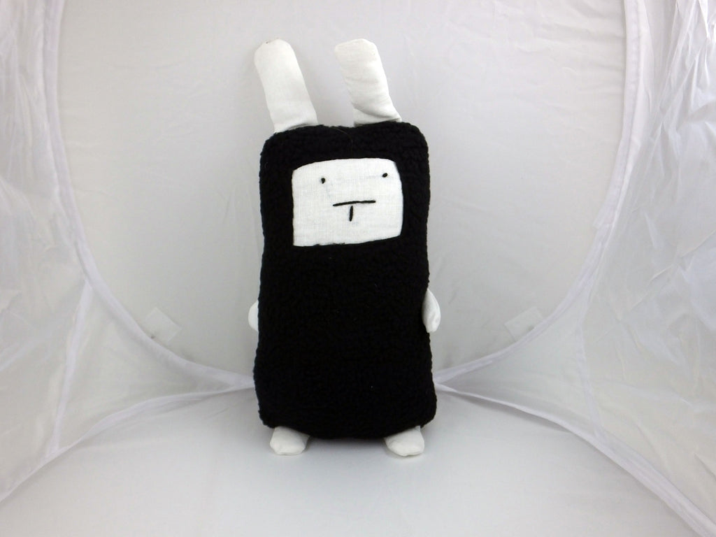 Handmade cuddly black & white cat toy