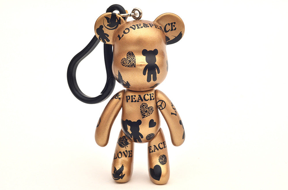 Love & Peace Gold 3 inch Keyring
