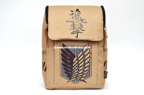 Attack on Titan Survey Corps Logo Khaki Canvas Backpack Bag