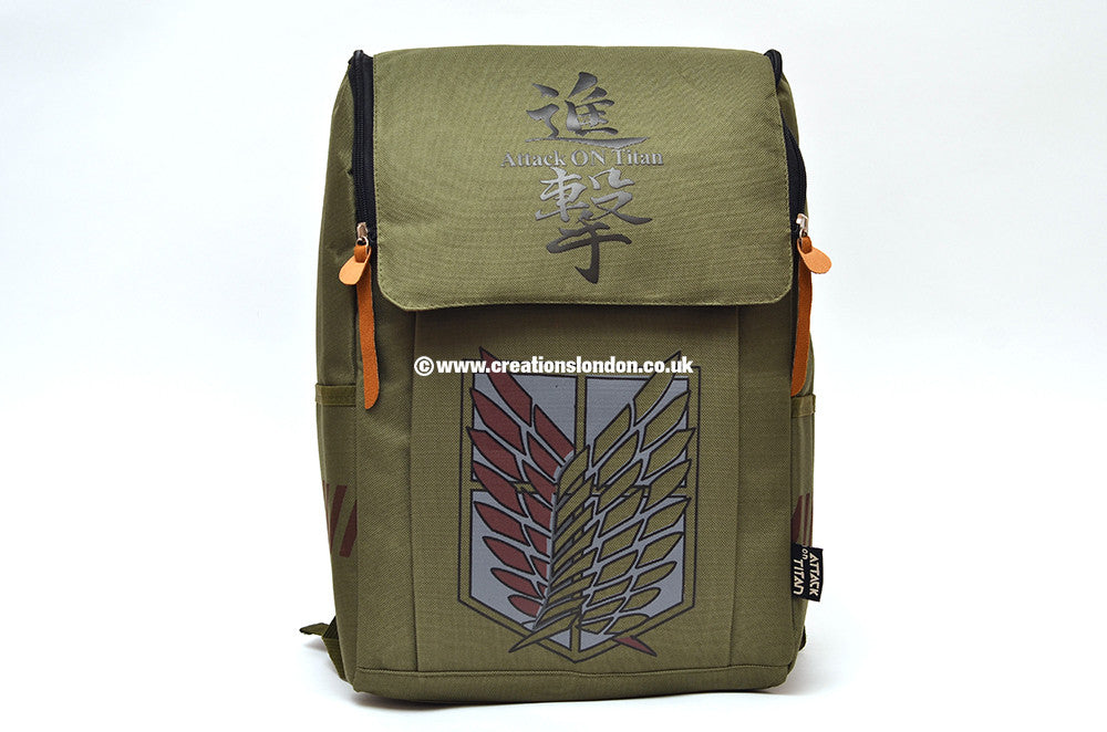 Attack on Titan Survey Corps Logo Army Green Canvas Backpack Bag