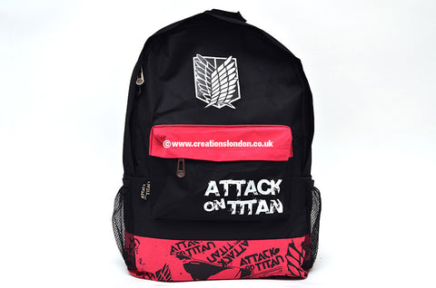 Attack on Titan Survey Corps Logo Black / Pink Canvas Backpack bag