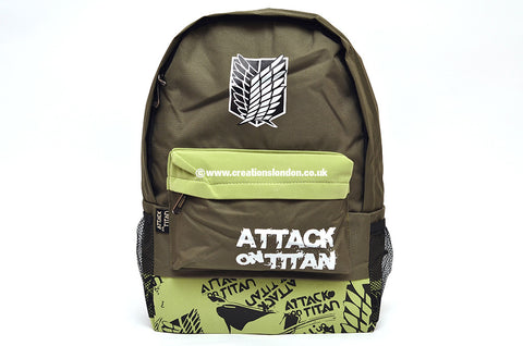 Attack on Titan Survey Corps Logo Dark / Light Green Canvas Backpack Bag